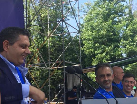 Paolo Ardenti sul palco della Lega