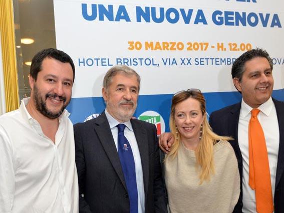 Salvini, Meloni e Toti con Bucci
