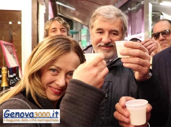 Giorgia Meloni brinda a Genova