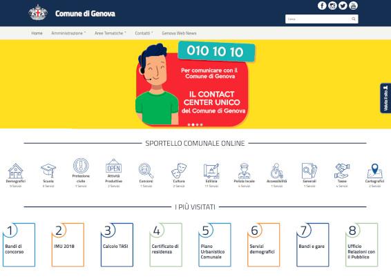Il nuovo sito del Comune di Genova